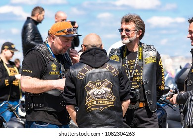 Dnipro city, Ukraine, April 28, 2018. Bikers  open the motorcycle season in  the Dnepr City  (Dnepropetrovsk, Dnipropetrovsk), Ukraine,
