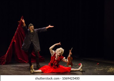 DNIPRO, UKRAINE - APRIL 15, 2018: Concert for two clowns performed by members of the Les Rois vagabonds Company at the State Drama and Comedy Theatre.