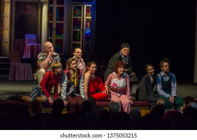 DNIPRO, UKRAINE – APRIL 18, 2019: Comedy Noises Off  by Michael Frayn performed by members of the Dnipro State Drama and Comedy Theatre.