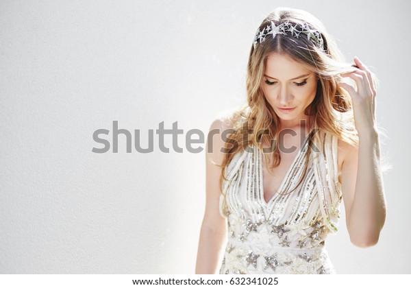 Dnipro, Ukraine - April 29, 2017: bride Tatyana Bogdan in  Elie Saab dress