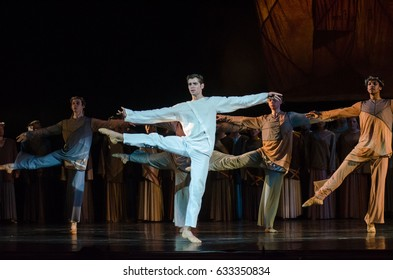 DNIPRO, UKRAINE - APRIL  30, 2017: Modern ballet  Jesus performed by members of the Dnipro Opera and Ballet Theatre.