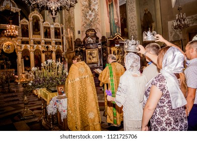 DNIPRO, UKRAINE — AUGUST 15 2017: Wedding in the Orthodox Church