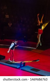 DNIPRO, UKRAINE - DECEMBER 14, 2018: Acrobats on the boards - Students of the School of Circus Arts by Imre Barosh, Budapest, Hungary performe at the Circus.