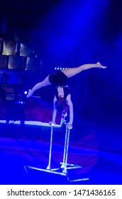 DNIPRO, UKRAINE - DECEMBER 14, 2018: Equilibrist Kristina Gusevska performs at the Circus.