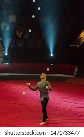 DNIPRO, UKRAINE - DECEMBER 14, 2018: Juggler Dmitro Bakhtin performs at the Circus.