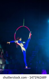DNIPRO, UKRAINE - DECEMBER 14, 2018: Aerial gymnast Anna Rumyantseva performs at the Circus.