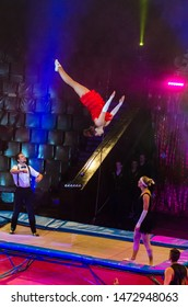 DNIPRO, UKRAINE - DECEMBER 14, 2018: Trampolines acrobats by Level Up studio perform at the Circus.