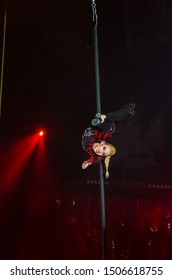 DNIPRO, UKRAINE - DECEMBER 14, 2018: Gymnast on the mast Sophia Oliynyk performs at the Circus.
