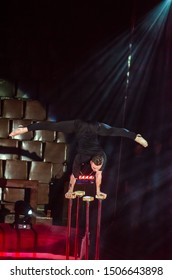 DNIPRO, UKRAINE - DECEMBER 14, 2018: Equilibrist Roman Stefanko performs at the Circus.