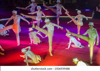 DNIPRO, UKRAINE - DECEMBER 14, 2018: Members of the Jazz-Ballet Antares perform at the Circus.