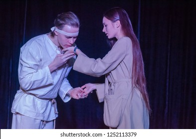 DNIPRO, UKRAINE - DECEMBER 2, 2018: Performance in the genre of post-apocalypse Prometheus perfomed by members of the Youth Theater Mirror.