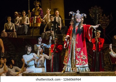 DNIPRO, UKRAINE – DECEMBER 22, 2018: Classical Opera by Giacomo Puccini Turandot performed by members of the Dnipro Opera and Ballet Theatre.