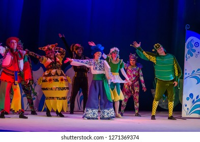DNIPRO, UKRAINE – DECEMBER 26, 2018: Barvinok is our hero performed by members of the Dnipro State Drama and Comedy Theatre.