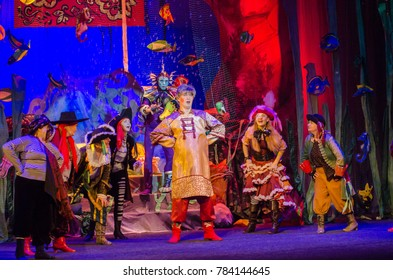 DNIPRO, UKRAINE - DECEMBER 27, 2017: Miracle-Yudo in the underwater kingdom performed by members of the Dnipro State Drama and Comedy Theatre.