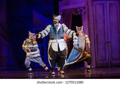 DNIPRO, UKRAINE - DECEMBER 29, 2018: Musical Kitsin House performed by members of the Dnipro Opera and Ballet Theatre.