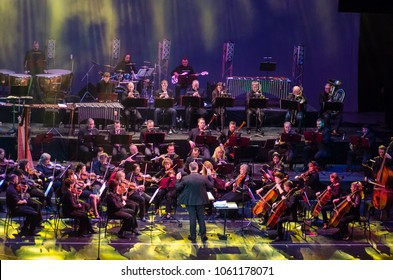 DNIPRO, UKRAINE - FEBRUARY 11, 2018: Symphony Orchestra Show performed by members of the Dnipro Opera and Ballet Theatre -  conductor Yuri Porohovnik.