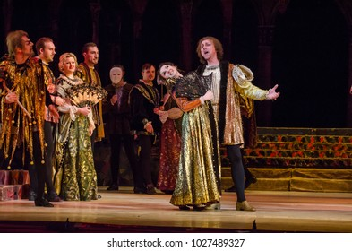 DNIPRO, UKRAINE - FEBRUARY 17, 2018: Classical opera Rigoletto performed by members of the Dnipro Opera and Ballet Theatre.