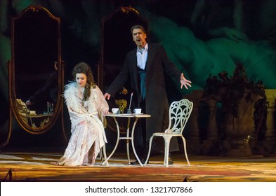 DNIPRO, UKRAINE – FEBRUARY 23, 2019: Classical Opera by Giuseppe Verdi Traviata performed by members of the Dnipro Opera and Ballet Theatre.