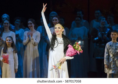 DNIPRO, UKRAINE - FEBRUARY 24, 2017: Ukrainian historical ballet Princess Olga performed by members of the Dnipro Opera and Ballet Theatre.