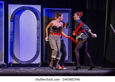 DNIPRO, UKRAINE - JULE 3, 2019: Comedy The Auditor by Mykola Gogol performed by members of the Dnipro State Drama and Comedy Theatre.
