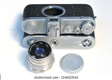 Dnipro, Ukraine - July 31, 2017: Zarya (Zaria, FED Zarya) is a 35mm film Viewfinder camera, manufactured by F.E.Dzerzhinsky factory, (FED) Kharkov, Ukraine, produced between 1959-61, Zarya means Dawn