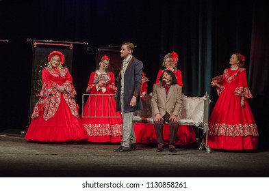 DNIPRO, UKRAINE - JULY 7, 2018: Uncle's dream performed by members of the Dnipro State Drama and Comedy Theatre.