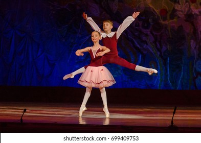 DNIPRO, UKRAINE - JUNE 17, 2017: Unidentified Children, ages 11 years old, perform This eternal ballet tale at State Opera and Ballet Theatre.