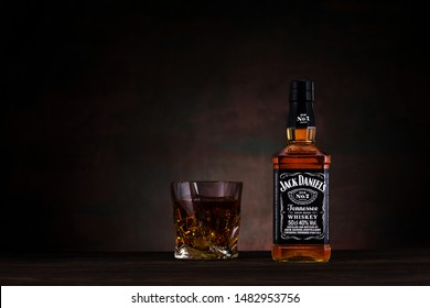 Dnipro, Ukraine - June 18, 2019: Jack Daniel's, a brand of the best selling American whiskey in the world, produced by the Jack Daniel Distillery and owned by the Brown-Forman Corporation since 1956
