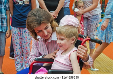Dnipro, Ukraine - June 27, 2018: First Lady Marina Poroshenko and children with special educational needs at opening of an children inclusive park