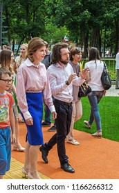 Dnipro, Ukraine - June 27, 2018: First Lady Marina Poroshenko with kids and architect Sergey Derbin at opening of an inclusive park