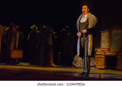 DNIPRO, UKRAINE - JUNE 30, 2018, 2018: Opera Onegin Life performed by members of the Dnipro Opera and Ballet Theatre.