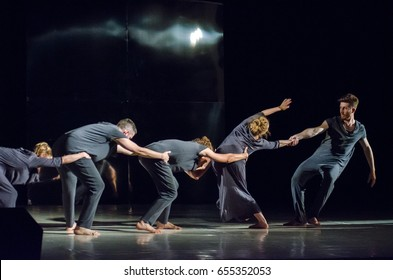 DNIPRO, UKRAINE - JUNE 6, 2017: Choreographic performance Mirror perform  by members of the Motion Mode Dance Theatre at the State Theater of Drama and Comedy.