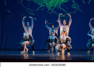 DNIPRO, UKRAINE - MARCH 23, 2018: Children of the Night  ballet performed by members of the National Ballet at the Dnipro State Opera and Ballet Theatre.