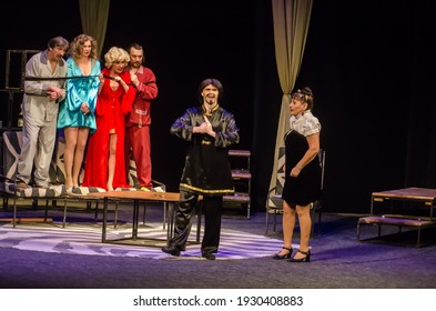 DNIPRO, UKRAINE – MARCH 5, 2021: Comedy Pajamas for six performed by members of the Dnipro State Drama and Comedy Theatre.