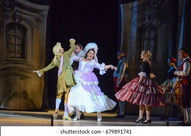 DNIPRO, UKRAINE - MAY 27, 2017: Classical opera The Barber of  Seville performed by members of the Dnipro Opera and Ballet Theatre.