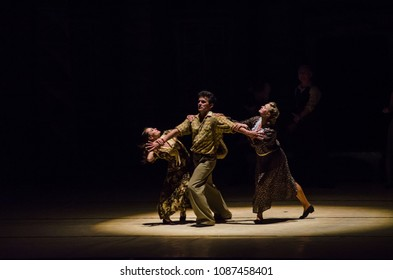 DNIPRO, UKRAINE - MAY 8, 2018: Modern  ballet This Tango in June performed by members of the Dnipro Opera and Ballet Theatre.