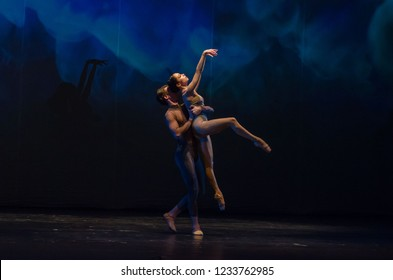 DNIPRO, UKRAINE - NOVEMBER 17, 2018: Children of the Night  ballet performed by members of the National Ballet at the Dnipro State Opera and Ballet Theatre.