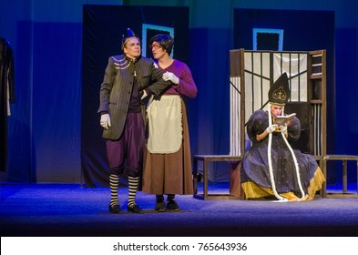 DNIPRO, UKRAINE - NOVEMBER 18, 2017: Members of the Dnipro State Drama and Comedy Theatre perform Broad comedy About Fedot.