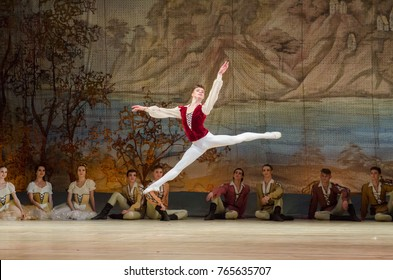 DNIPRO, UKRAINE - NOVEMBER 19, 2017: Classical ballet Giselle performed by members of the Dnipro Opera and Ballet Theatre.