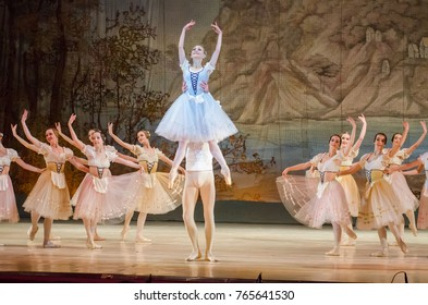 DNIPRO, UKRAINE - NOVEMBER 19, 2017: Classical ballet Giselle performed by members of the Dnipro Opera and Ballet 