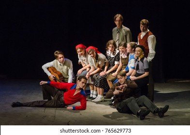 DNIPRO, UKRAINE - NOVEMBER  25, 2017: The Epic Drama The Hungry Blood performed by members of the Dnipro Youth Theatre VIRYMO!.