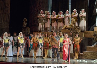 DNIPRO, UKRAINE - NOVEMBER 26, 2016: Aida opera performed by members of the Dnipro Opera and Ballet Theatre.