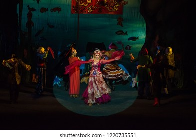 DNIPRO, UKRAINE - NOVEMBER 4, 2018: Miracle-Yudo in the underwater kingdom performed by members of the Dnipro State Drama and Comedy Theatre.