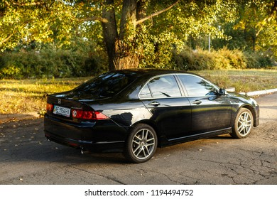 DNIPRO, UKRAINE - OCTOBER 01, 2016: HONDA ACCORD IN THE CITY AT SUNSET