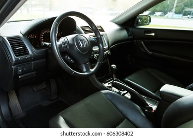 DNIPRO, UKRAINE - OCTOBER 01, 2016: HONDA ACCORD DARK COLOR, INTERIOR