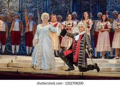 DNIPRO, UKRAINE - OCTOBER 12, 2018: The Marriage of Figaro opera performed by members of the Dnipro Opera and Ballet Theatre.