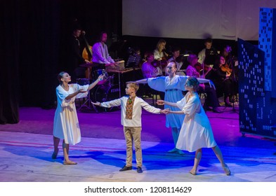DNIPRO, UKRAINE - OCTOBER 20, 2018: The musical Kvitka performed by members of the Art project Kvitka Tsisik  at the Philharmonic..