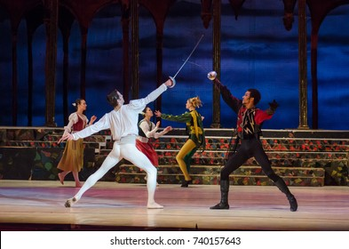 DNIPRO, UKRAINE - OCTOBER 21, 2017: Ballet Romeo and Juliet performed by members of the Dnipro  State Opera and Ballet Theatre.