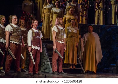 "DNIPRO, UKRAINE - OCTOBER 21, 2018: Classical Opera ""Norma"" by Giacomo Puccini performed by members of the Dnipro State Opera and Ballet Theatre."