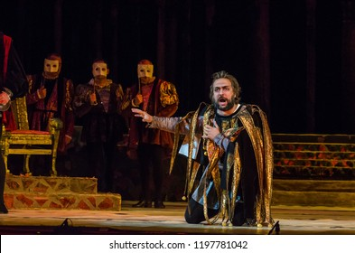 DNIPRO, UKRAINE - OCTOBER 7, 2018: Rigoletto opera performed by members of the Dnipro State Opera and Ballet Theatre.